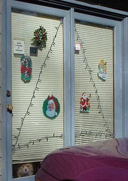 The double doors decorated for the season